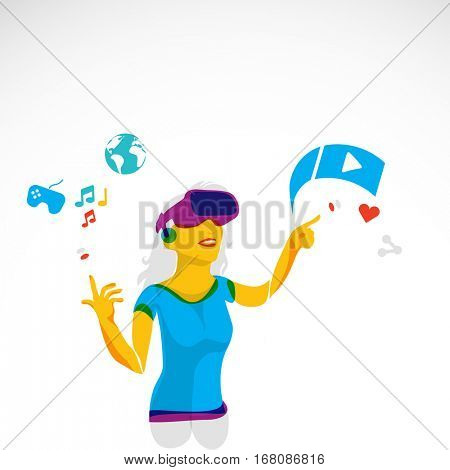 Abstract virtual reality woman illustration selecting from menu