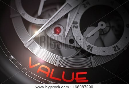 Value on the Face of Luxury Pocket Watch, Chronograph Closeup. Up Close Old Watch with Stainless Steel Wrist and Value Inscription on Face. Work Concept with Glow Effect and Lens Flare. 3D Rendering.