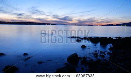 English Bay Beach At Dusk Looking At Strait of Georgia