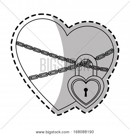 heart with chains and padlock over white background. vector illustration