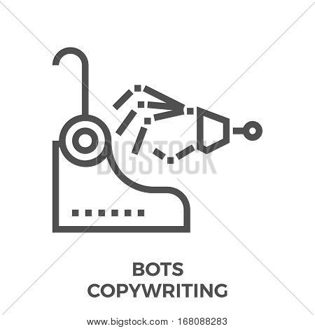 Bots Copywriting Thin Line Vector Icon Isolated on the White Background.