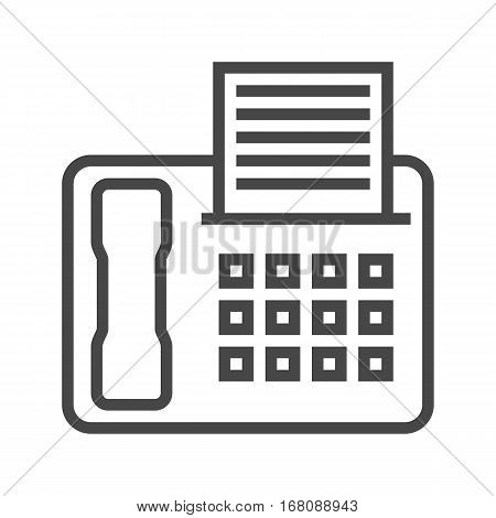 Fax Thin Line Vector Icon Isolated on the White Background.