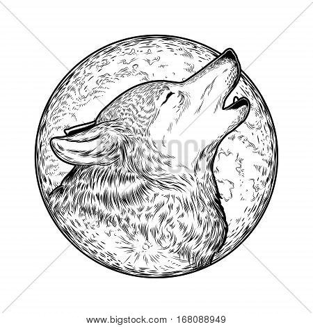 illustration of a howling wolf, engraving. Print for T-shirts.