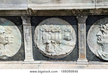 Detail Of The Statue Of The Facade Of Famous Monastery Certosa D