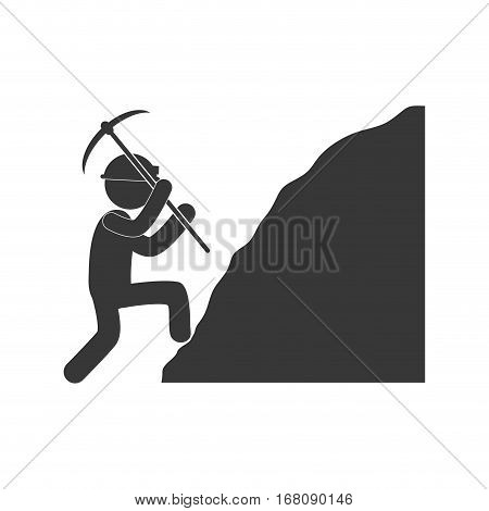 worker mining pickaxe rock figure pictogram vector illustration eps 10