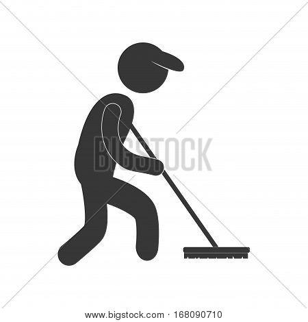 sweeper clean broom figure pictogram vector illustration eps 10