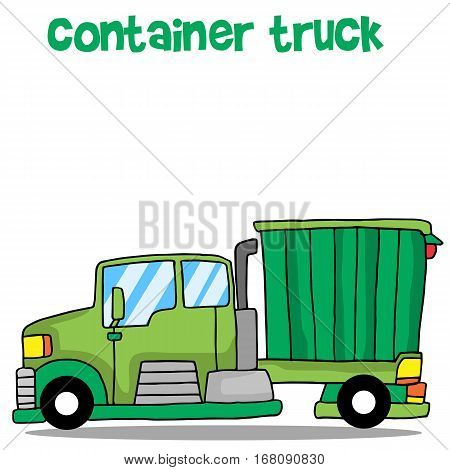 Green container truck vector illustration collection stock