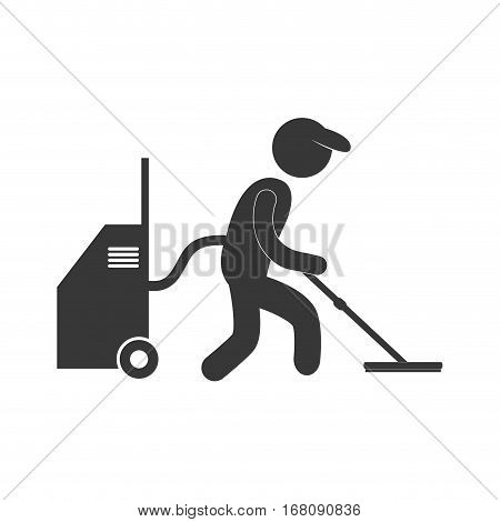 man user professional vaccum cleaning figure pictogram vector illustration eps 10