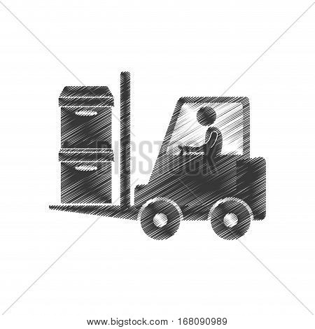 drawing worker forklift boxes cargo figure pictogram vector illustration eps 10