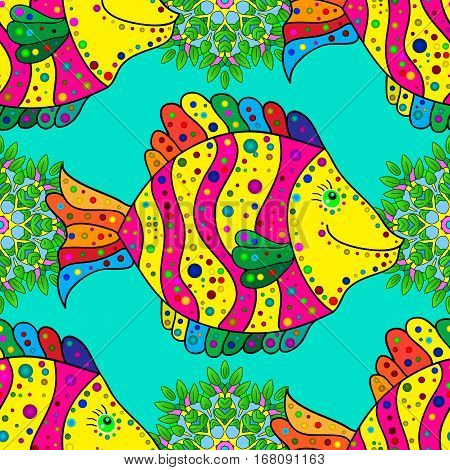 Zentangle stylized fish seamless pattern. Hand Drawn aquatic doodle vector illustration. Ocean life. Bright colors on blue background.