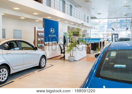 Showroom And Car Of Dealership Hyndai In Kirov City In 2016