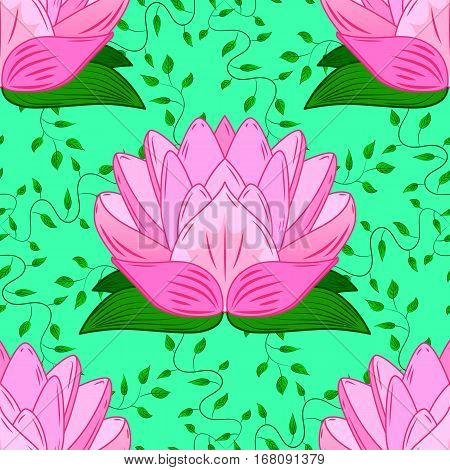 Beautiful nature seamless pattern with pink lotus and green leaves. Floral background with stylized waterlily flower. Trendy stylish colorful wallpaper. Vector illustration