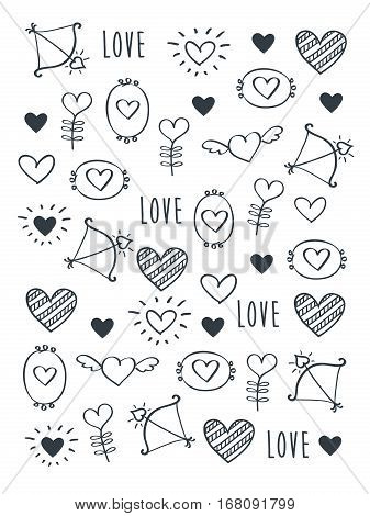 Greeting card for Valentine's Day, Mother's Day, Father's Day, birthday, wedding with hand drawn elements. Doodles, sketch. Vector.