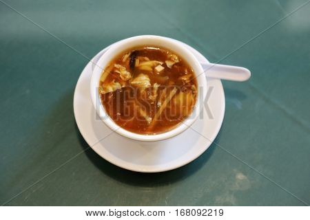 hot & sour soup.  Chinese lunch with hot and sour soup
