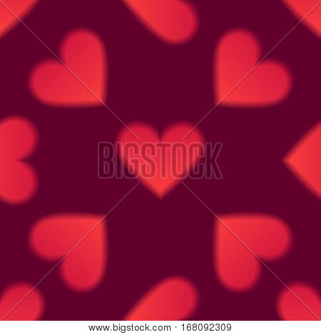Romantic seamless pattern with red hearts. Love and romantic symbols. Vector illustration for background, wallpaper, banner or Valentine's Day greeting card.