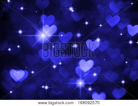 Heart background boke photo, dark blue color. Abstract holiday, celebration and valentine backdrop.