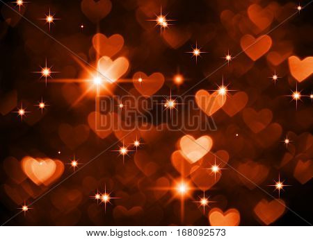Heart background boke photo, dark red brown color. Abstract holiday, celebration and valentine backdrop.
