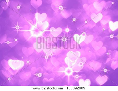 Heart background boke photo, bright magenta color. Abstract holiday, celebration and valentine backdrop.