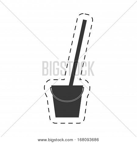 bucket mop cleaning cutting line vector illustration eps 10
