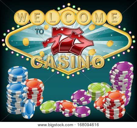 Casino theme background with poker chips and golden coins