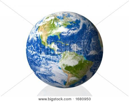 earth isolated in white background 3d illustration poster