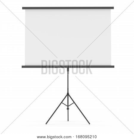 Blank Projection screen, isolated on white. Place your images or texts. Template for design. 3D illustration