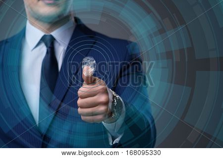 Biometric identification concept with fingerprints