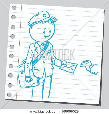 Funny postman delivering letter