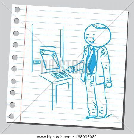 Businessman operating on ATM machine