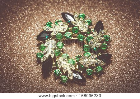 Green Flower Shaped Brooch
