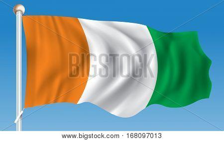 Flag of Coast of Ivory - vector illustration