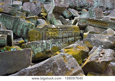 old chaotic heap from ancient stone ruins