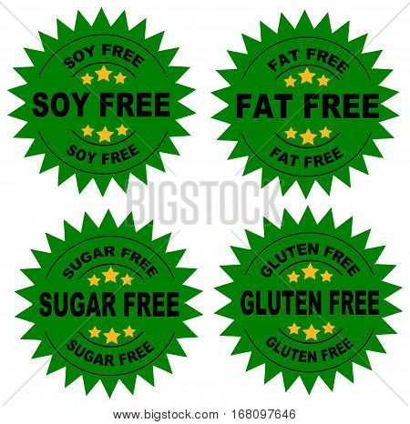 A set of seals indicating that the food is soy free, fat free, sugar fre and gluten free with a Green Background