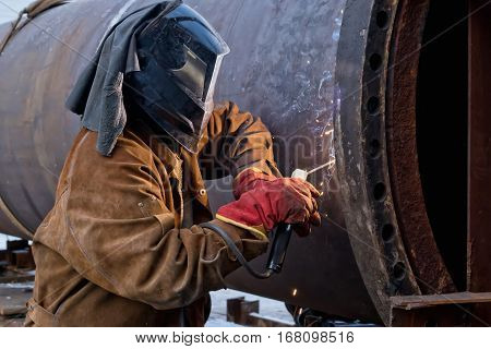 Repair Work On Welded Flange Large Chemical Apparatus