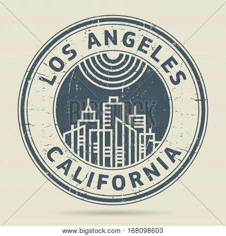 Grunge rubber stamp or label with text Los Angeles Califronia written inside vector illustration