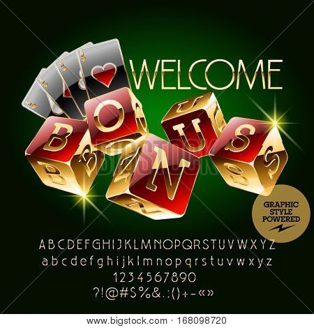 Vector casino golden banner Welcome. Set of letters, numbers and symbols. Contains graphic style.