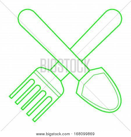 simple flat thin line shovel and pitchfork icon vector
