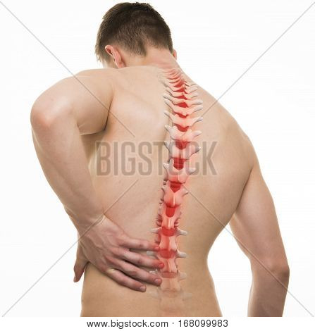Spinal Pain - Studio Shot With 3D Illustration Isolated On White