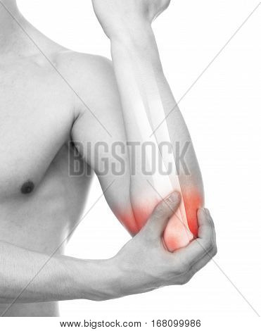 Elbow Injury - Studio shot with 3D illustration isolated on white