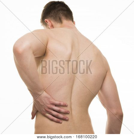 Young Man With Back Pain - Studio Shot Isolated On White
