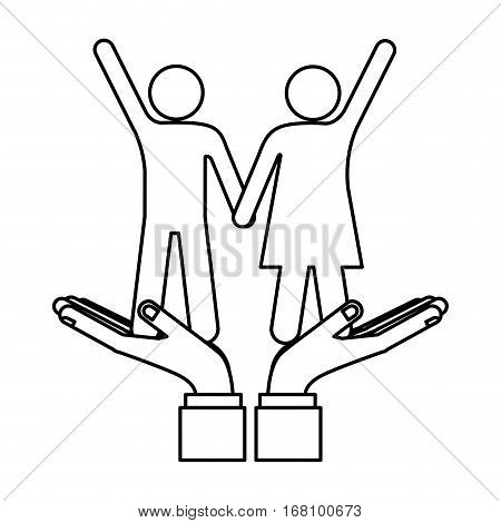 Cute couple relationship icon vector illustration graphic design
