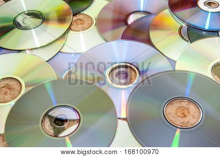 close-up of stack of cd and of purple dvd collection