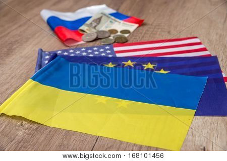 flag of america europe and ukraine close up