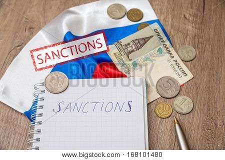 sanctions of russia - flag, money, notes