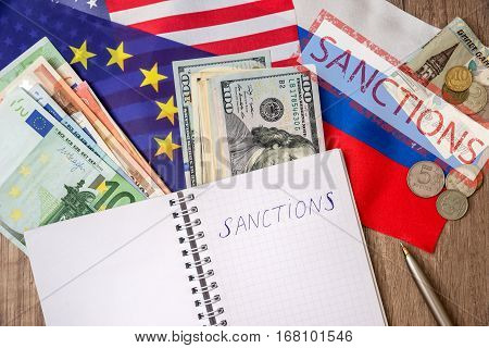 flag of usa and europe. sanctions of russia