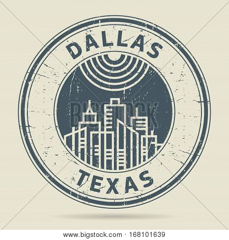 Grunge rubber stamp or label with text Dallas Texas written inside vector illustration