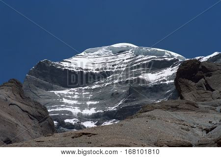 View to the West Face of sacred Mount Kailash in Western Tibet.