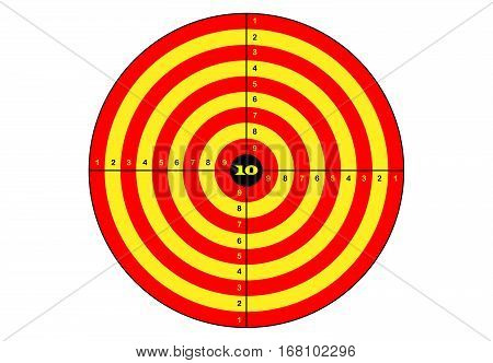 Target shooting vector target in yellow and orange color