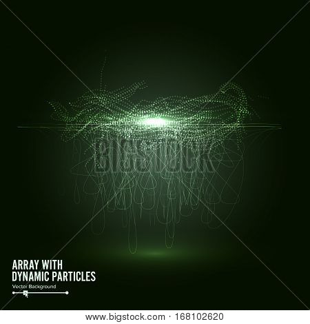 Array Vector With Splash Emitted Particles. Big Data Complex. Visualization Abstract Background With Swirled Stripes