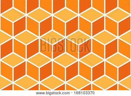 Seamless pattern of colored cubes. Endless cubic background. Optical illusion.